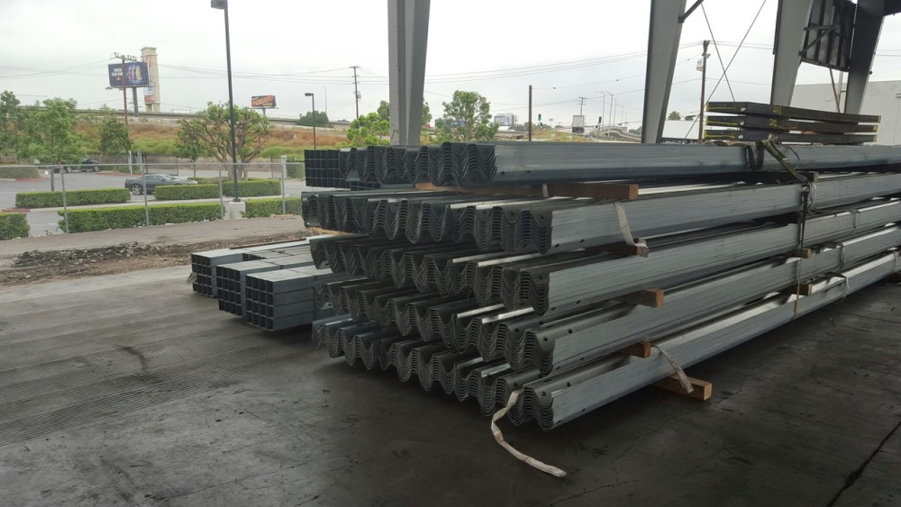 Stacks of 26 foot W-Beam Guardrail at our West Coast Facility