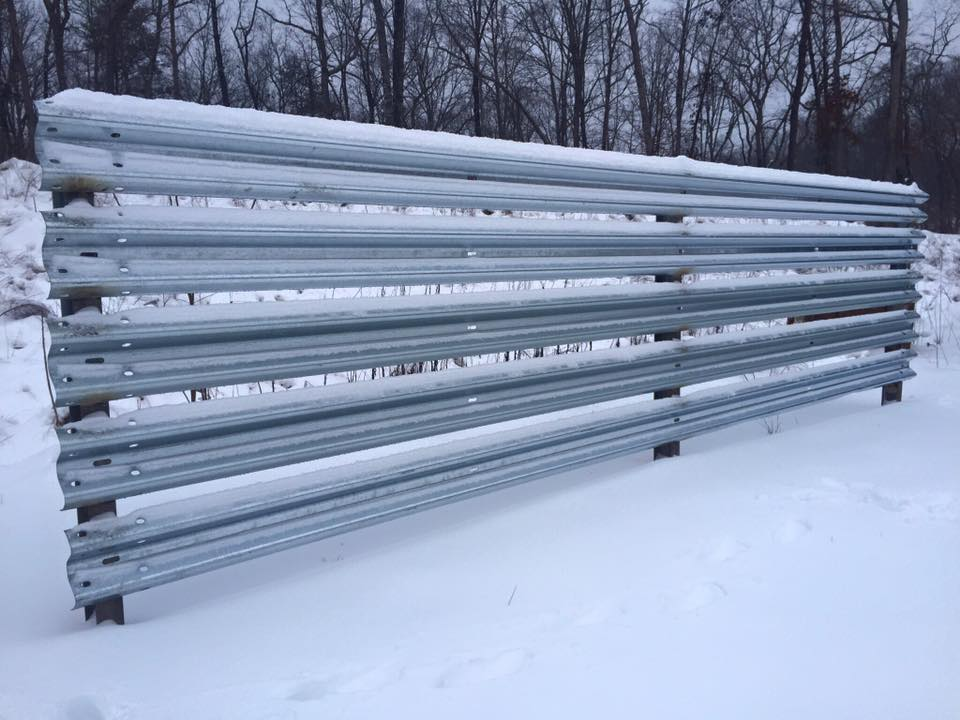 Windbreak built out of W-Beam Guardrail